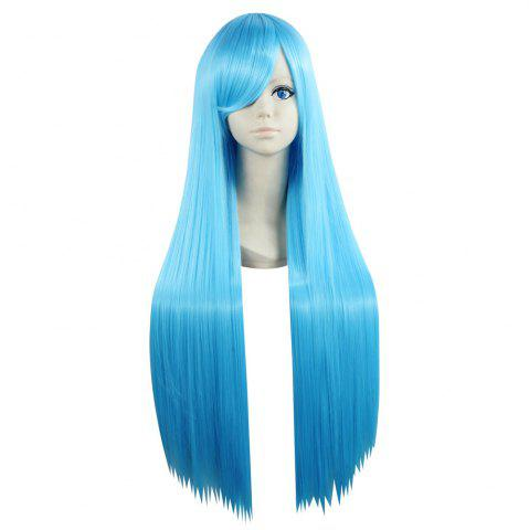 Discount Ultra Long Side Bang Layered Glossy Straight Synthetic Naruto Cosplay Anime Wig WINDSOR BLUE
