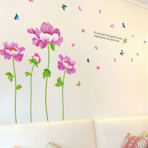 Affordable Peony Flower Vinyl Decorative Wall Sticker - 60*90CM PINK Mobile