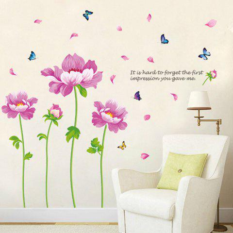 Latest Peony Flower Vinyl Decorative Wall Sticker - 60*90CM PINK Mobile
