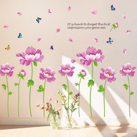Unique Peony Flower Vinyl Decorative Wall Sticker - 60*90CM PINK Mobile