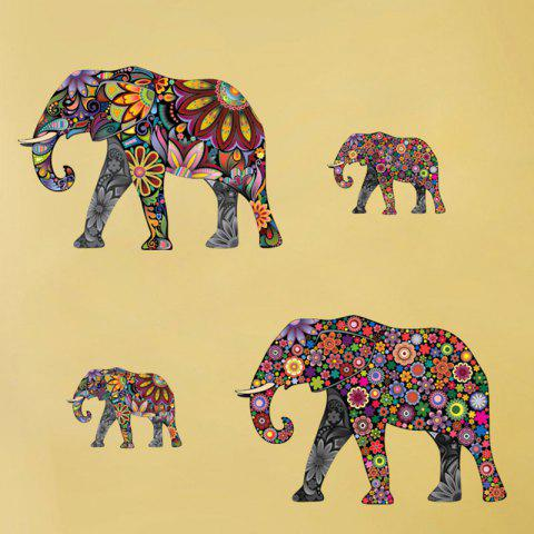 Chic Ethnic Floral Elephant Wall Art Sticker - 35*60CM COLORMIX Mobile
