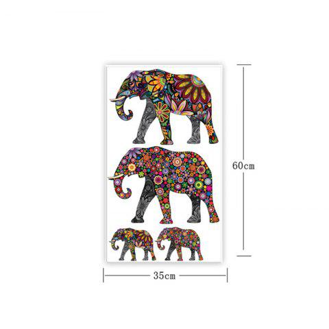 Store Ethnic Floral Elephant Wall Art Sticker - 35*60CM COLORMIX Mobile
