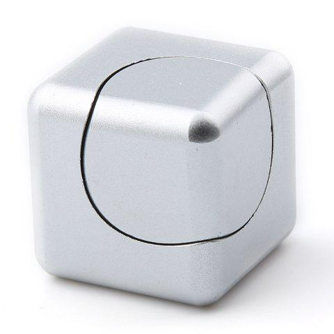 Online Stress Relief Alloy Cube Hand Spinner - SILVER  Mobile