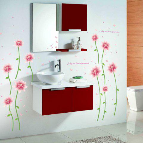 New Removable Floral Butterfly Letter Decorative Wall Sticker - 60*90CM PINK Mobile
