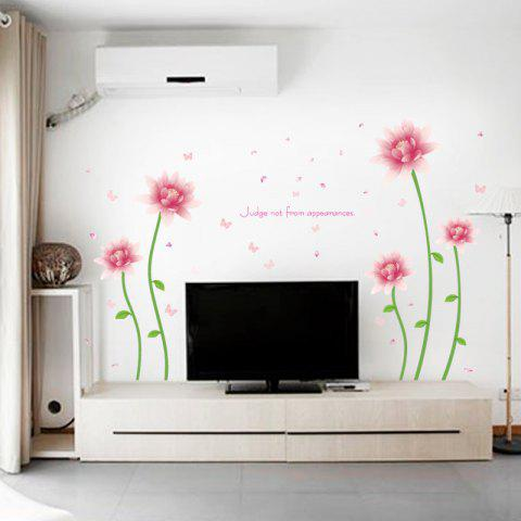 Outfit Removable Floral Butterfly Letter Decorative Wall Sticker - 60*90CM PINK Mobile