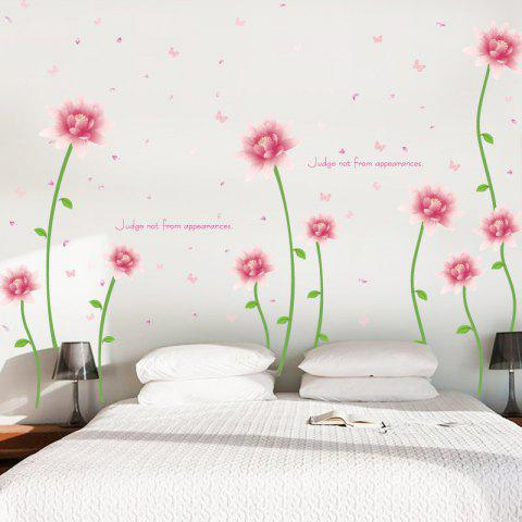 Online Removable Floral Butterfly Letter Decorative Wall Sticker - 60*90CM PINK Mobile