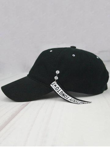 Affordable Letters Metal Circle Streamer Embellish Baseball Hat - BLACK  Mobile