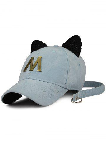 Shop Cat Ear Metal Letter Embellish Long Tail Hat LIGHT BLUE