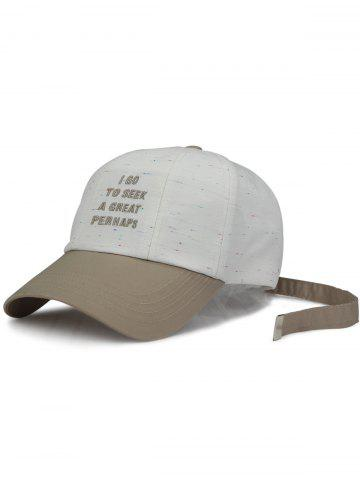 Hot Letters Embroidered Long Tail Baseball Hat - WHITE  Mobile
