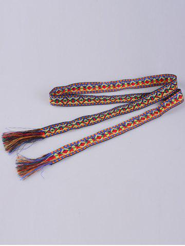 Store Retro Ethnic Embroidery Woven Fringed Waist Strap - BLUE+YELLOW+RED  Mobile
