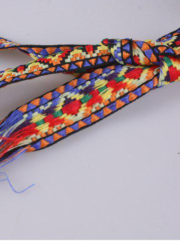 Hot Retro Ethnic Embroidery Woven Fringed Waist Strap - BLUE+YELLOW+RED  Mobile
