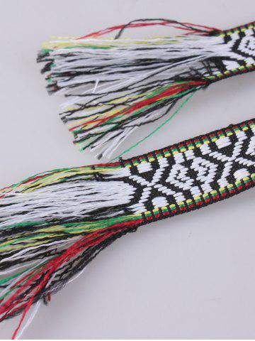 Shop Retro Ethnic Embroidery Woven Fringed Waist Strap - BLACK WHITE  Mobile