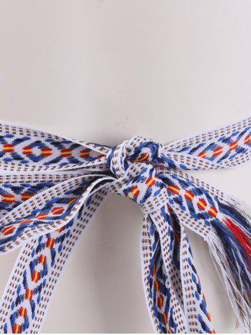 New Retro Ethnic Embroidery Woven Fringed Waist Strap - BLUE STRIPE  Mobile