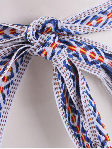 Store Retro Ethnic Embroidery Woven Fringed Waist Strap - BLUE STRIPE  Mobile