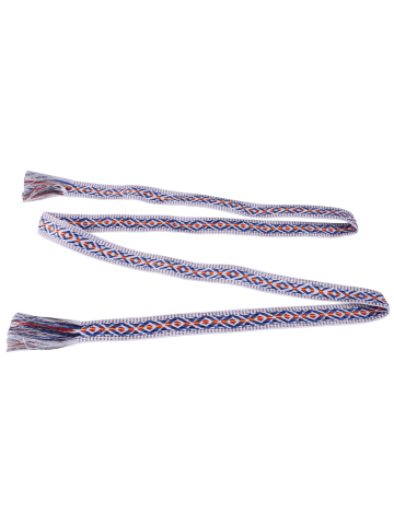 Affordable Retro Ethnic Embroidery Woven Fringed Waist Strap - BLUE STRIPE  Mobile