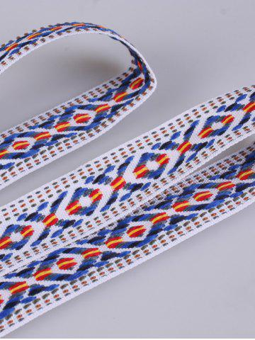 Hot Retro Ethnic Embroidery Woven Fringed Waist Strap - BLUE STRIPE  Mobile