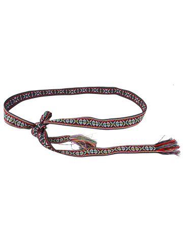 Fashion Retro Ethnic Embroidery Woven Fringed Waist Strap - BLACK AND RED  Mobile