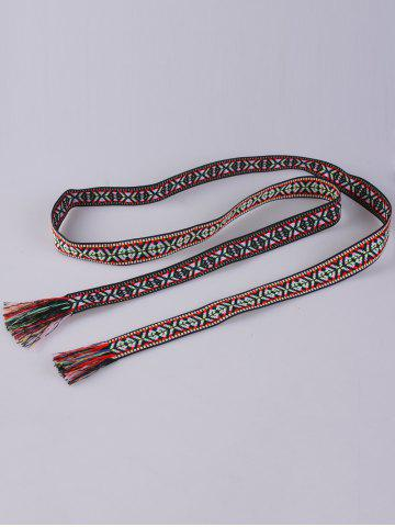 Latest Retro Ethnic Embroidery Woven Fringed Waist Strap - BLACK AND RED  Mobile