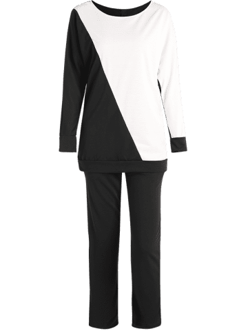 Outfits Color Block Sweatshirt With Pants Suit - L WHITE AND BLACK Mobile