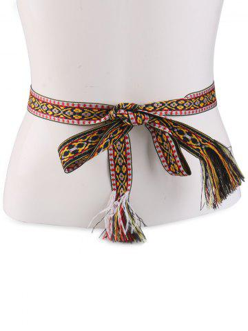 Unique Retro Ethnic Embroidery Woven Fringed Waist Strap - BROWN  Mobile