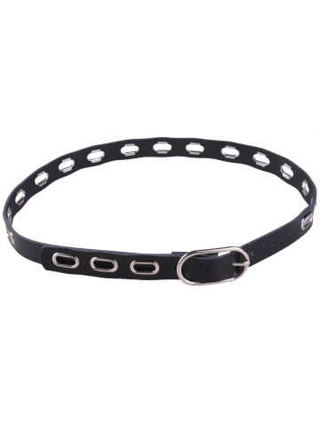 Metallic Hollow Out Oval Rings Waist Belt - Black - 37
