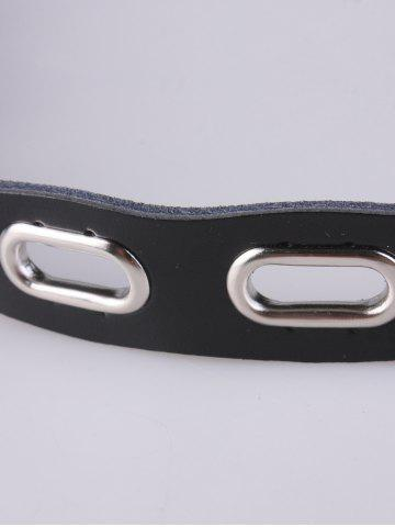 Unique Metallic Hollow Out Oval Rings Waist Belt - BLACK  Mobile