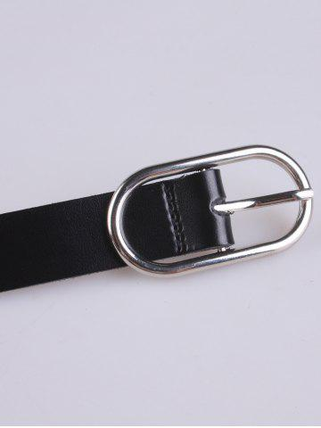 Fashion Metallic Hollow Out Oval Rings Waist Belt - BLACK  Mobile