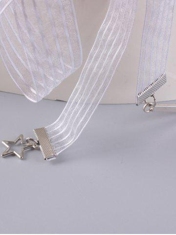 Fashion Ribbon Metallic Star Embellish Waist Strap - WHITE  Mobile