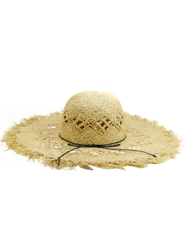 Store Hollow Out Woven Wide Birm Straw Hat - KHAKI  Mobile