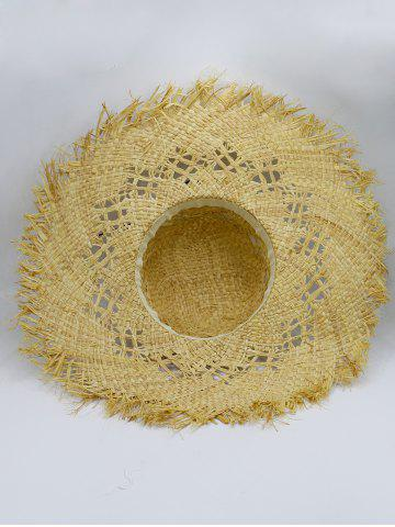 Shop Hollow Out Woven Wide Birm Straw Hat - KHAKI  Mobile