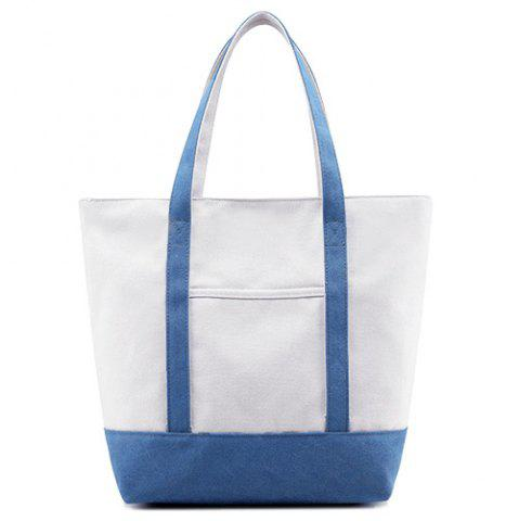 New Top Zipper Canvas Tote - BLUE  Mobile