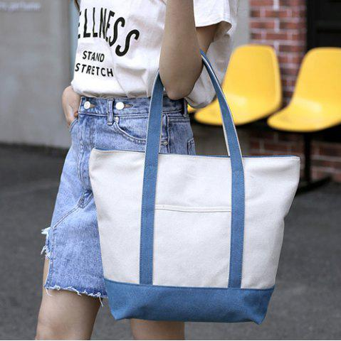 Store Top Zipper Canvas Tote - BLUE  Mobile