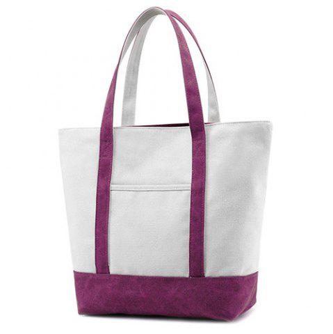 Outfit Top Zipper Canvas Tote - PURPLE  Mobile