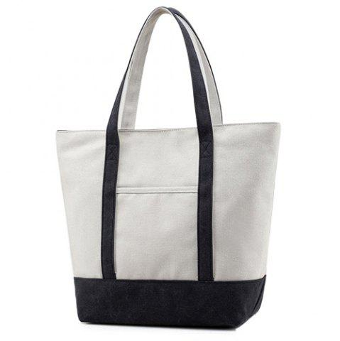 Outfit Top Zipper Canvas Tote - BLACK  Mobile