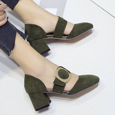 Best Belt Buckle Square Toe Mid Heel Pumps