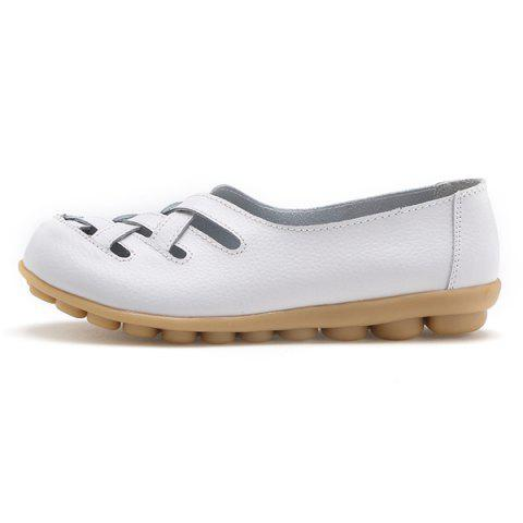 Affordable Faux Leather Criss Cross Flat Shoes - 39 WHITE Mobile