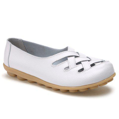 Shops Faux Leather Criss Cross Flat Shoes - 39 WHITE Mobile