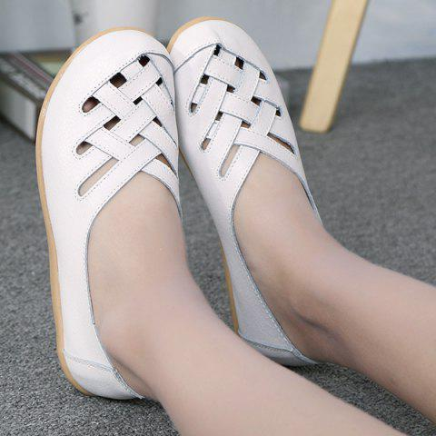 Best Faux Leather Criss Cross Flat Shoes - 39 WHITE Mobile