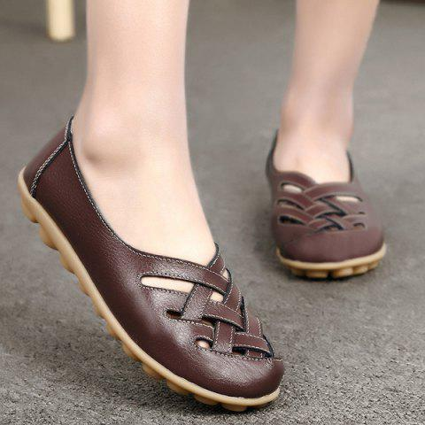 New Faux Leather Criss Cross Flat Shoes - 39 COFFEE Mobile