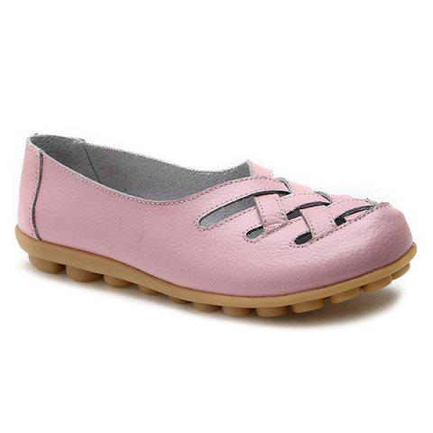 Fashion Faux Leather Criss Cross Flat Shoes - 39 PINK Mobile