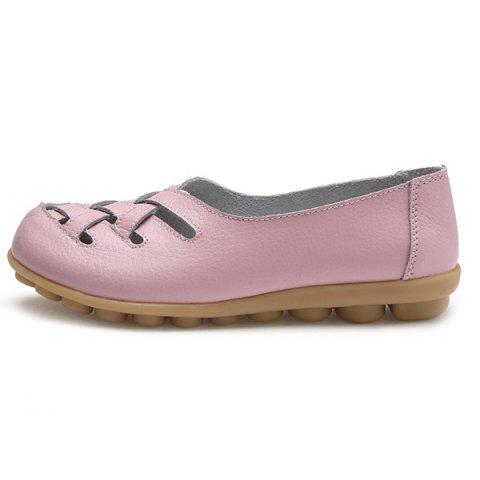 Affordable Faux Leather Criss Cross Flat Shoes - 39 PINK Mobile