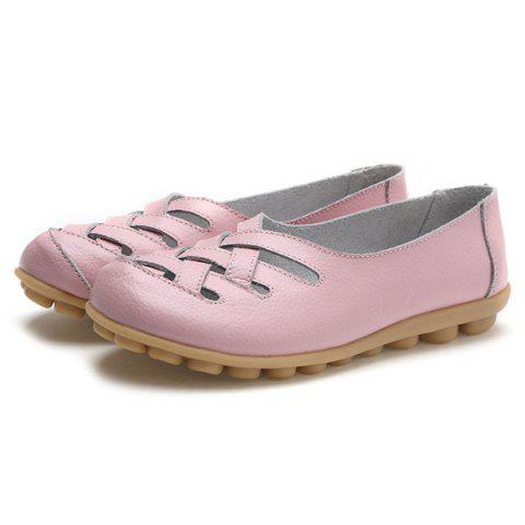Latest Faux Leather Criss Cross Flat Shoes - 39 PINK Mobile