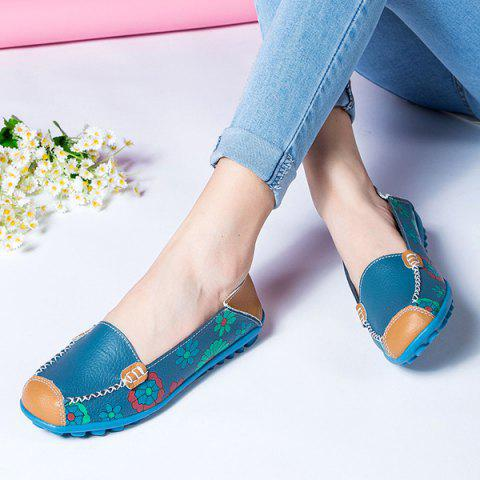 Outfit Faux Leather Flower Print Flat Shoes - 39 BLUE Mobile