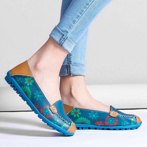 Buy Faux Leather Flower Print Flat Shoes - 39 BLUE Mobile