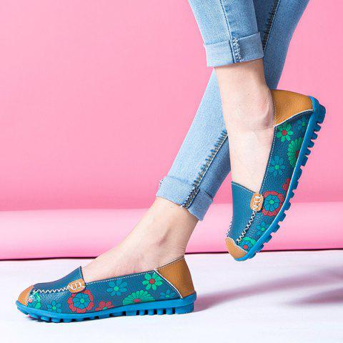 Online Faux Leather Flower Print Flat Shoes - 39 BLUE Mobile