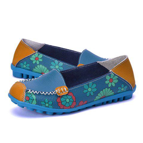 Latest Faux Leather Flower Print Flat Shoes - 39 BLUE Mobile