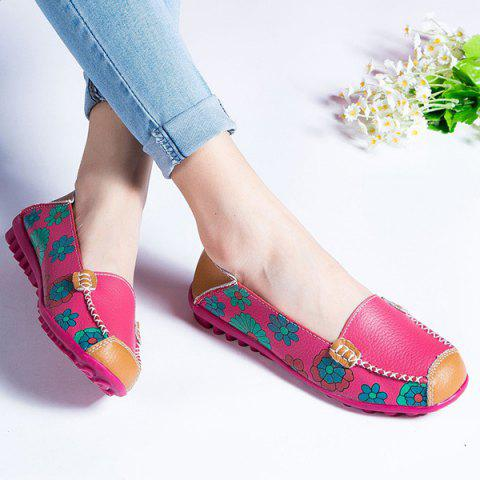 Unique Faux Leather Flower Print Flat Shoes - 39 ROSE RED Mobile
