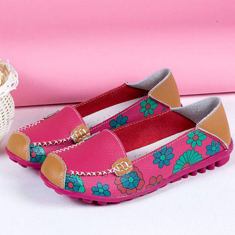 Affordable Faux Leather Flower Print Flat Shoes - 39 ROSE RED Mobile