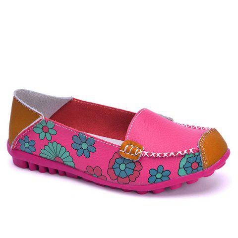 Fancy Faux Leather Flower Print Flat Shoes - 39 ROSE RED Mobile