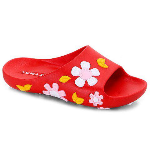 Sale Flat Heel Flower Pattern Slippers - 39 PINK Mobile